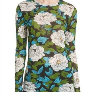 Authentic DVF peony print long sleeve pull over